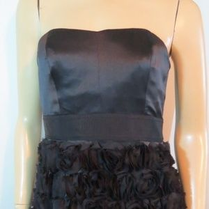 PHOEBE COUTURE Black Silk Bow Rosette Dress 6